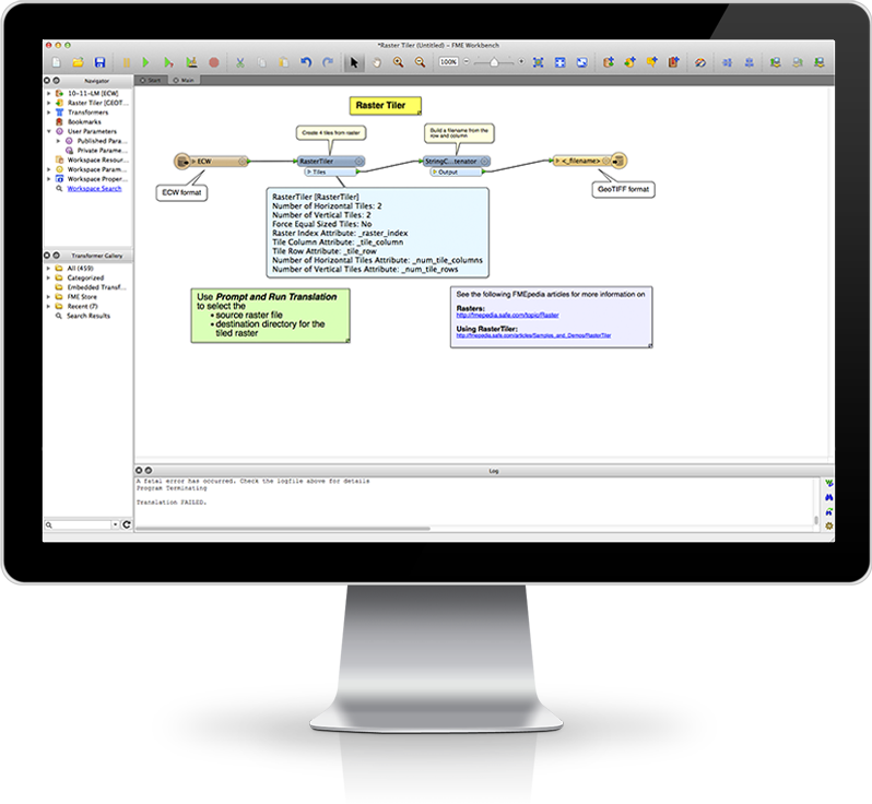 A raster workflow in FME Workbench